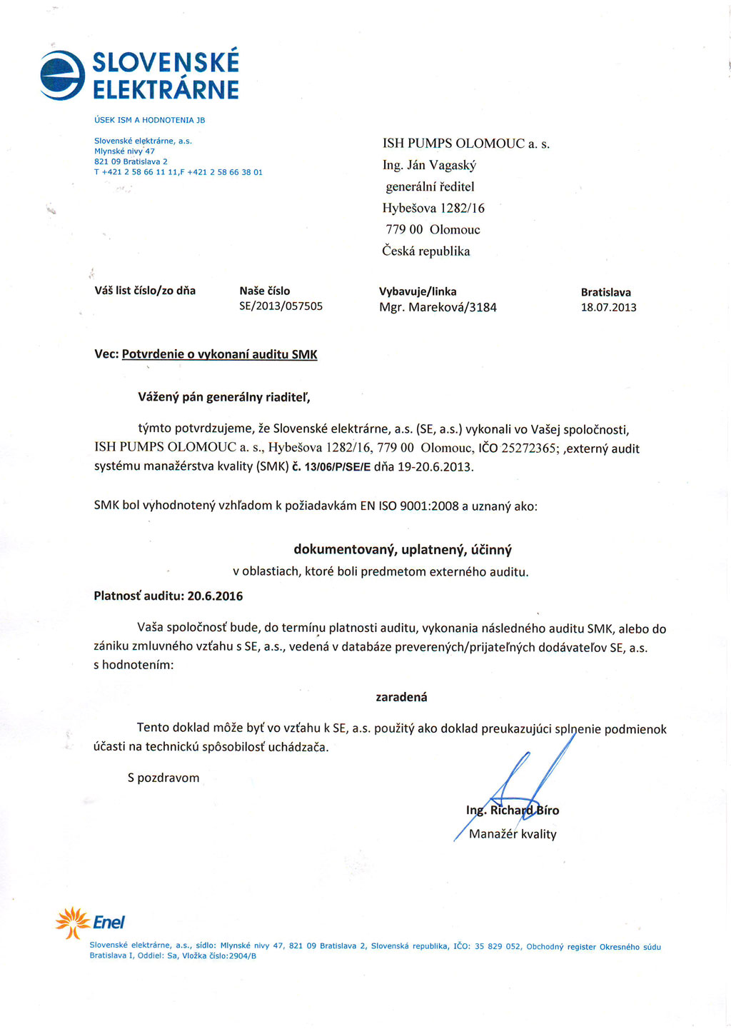 Certification About The Company Ish Pumps Olomouc A S